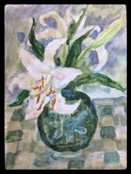 父が描いたユリの花(水彩画)